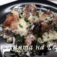 Пиле със спанак и ориз в сос бешамел